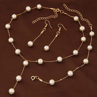 Set: Faux Pearl Necklace + Bracelet + Drop Earring from Bling Thing