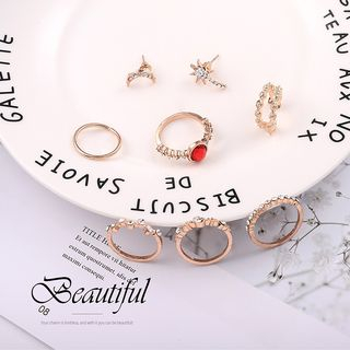 Set: Rhinestone Alloy Ring / Open Ring / Earring Gold - One Size from Bling Thing