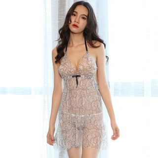 Lingerie Set: Lace Babydoll + Thong As Shown In Figure - One Size from Boanne