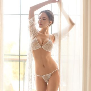 Set: Lace Bralette + Thongs + Robe from Boanne