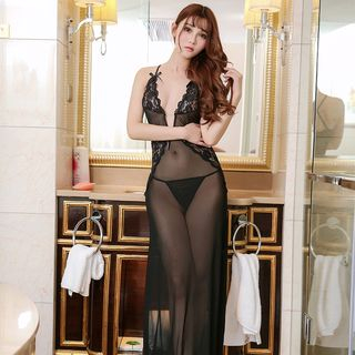 Set: Lace Lingerie Nightdress + Thongs from Boanne