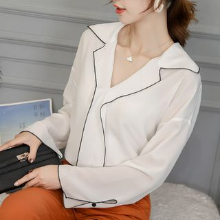 Contrast Trim Chiffon Blouse from Bornite