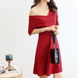 Elbow-Sleeve Off Shoulder A-Line Dress from Bornite