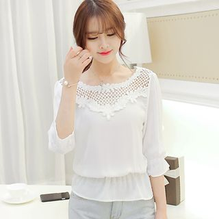 Lace Panel 3/4 Sleeve Chiffon Top from Bornite