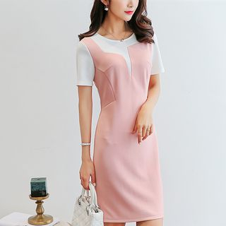 Mock Two-Piece Short-Sleeve Sheath Dress from Bornite