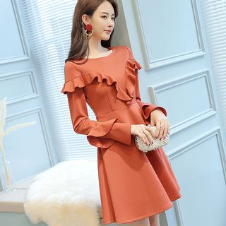 Ruffled Long-Sleeve A-Line Dress from Bornite