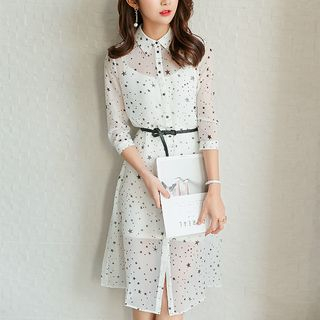 Set: 3/4-Sleeve Star Print Shirt Dress + Slipdress from Bornite