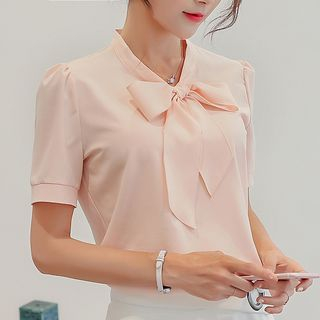 Tie-Neck Short-Sleeve Blouse from Bornite