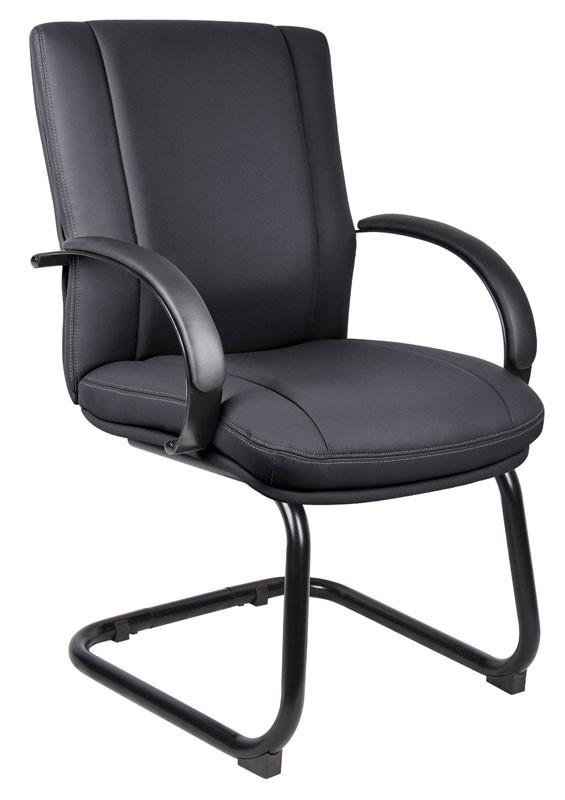 Boss Office Products AELE40B-BK Aaria Collection Elektra Guest Chair/ Black Finish/ Black Upholstery from Boss Office Products