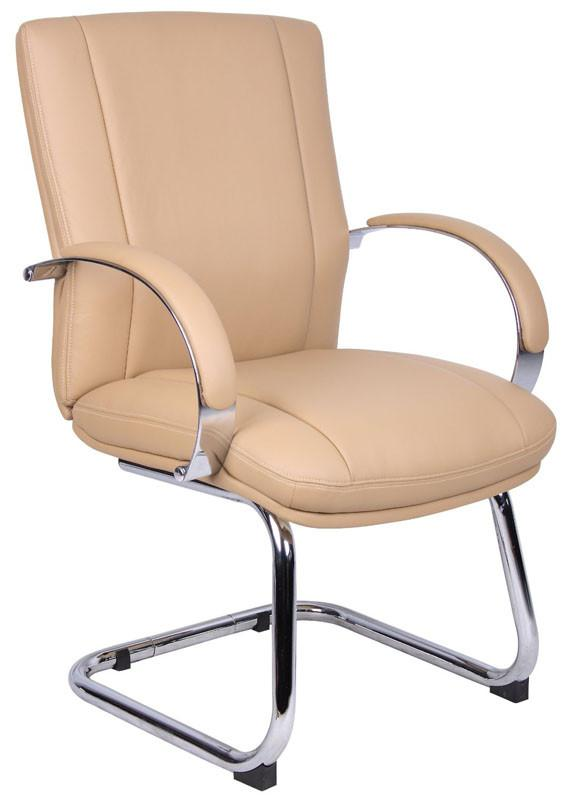 Boss Office Products AELE40C-TN Aaria Collection Elektra Guest Chair/ Chrome Finish/ Tan Upholstery from Boss Office Products