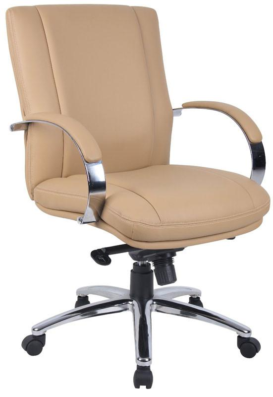 Boss Office Products AELE65C-TN Aaria Collection Elektra Mid Back Executive Chair / Chrome Finish / Tan Upholstery/ Knee Tilt from Boss Office Products