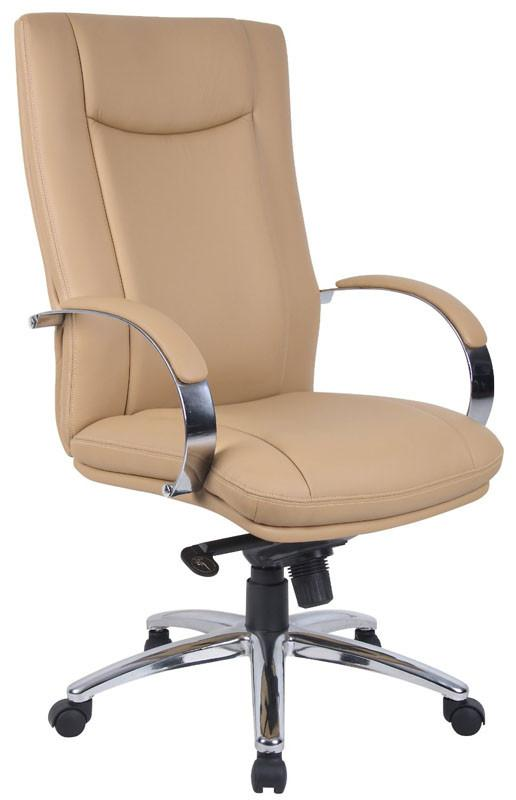 Boss Office Products AELE75C-TN Aaria Collection Elektra High Back Executive Chair / Chrome Finish / Tan Upholstery/ Knee Tilt from Boss Office Products