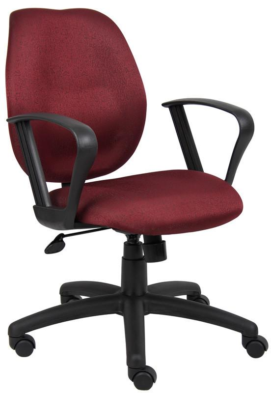 Boss Office Products B1015-BY Boss Burgundy Task Chair W/Loop Arms from Boss Office Products