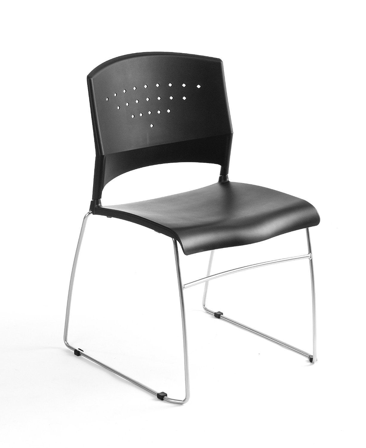 Boss Office Products B1400-BK-2 Boss Black Stack Chair With Chrome Frame 2 Pcs Pack from Boss Office Products