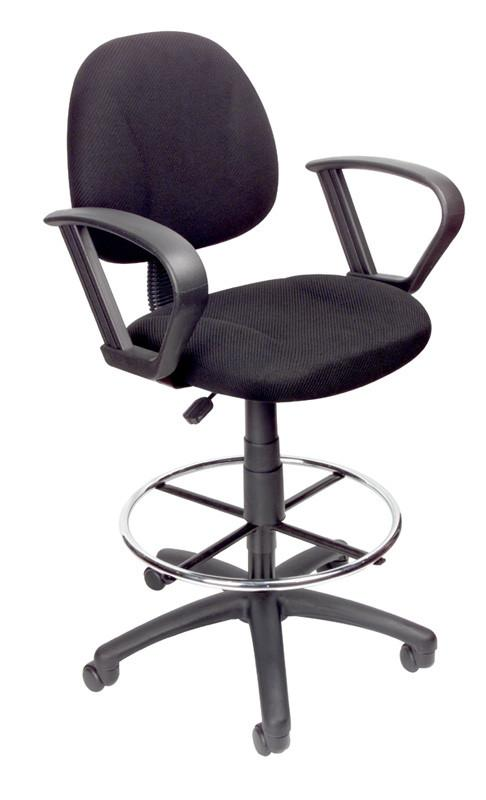 Boss Office Products B1617-BK Boss Drafting Stool W/Footring And Loop Arms from Boss Office Products