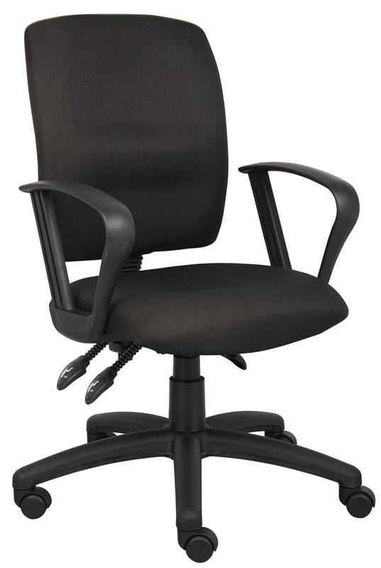 Boss Office Products B3037-BK Boss Multi-Function Fabric Task Chair W/Loop Arms from Boss Office Products