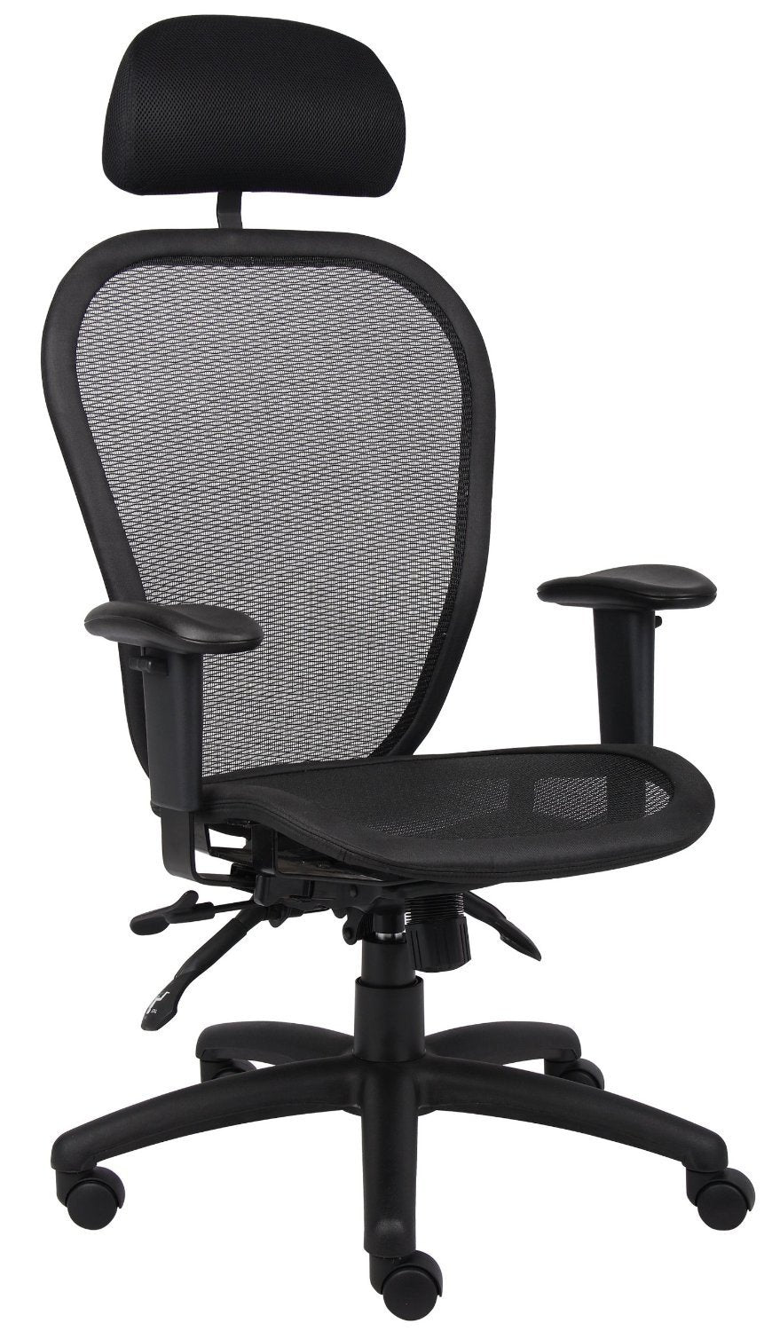 Boss Office Products B6018-HR Boss Multi Function Mesh Chair W/ Headrest from Boss Office Products