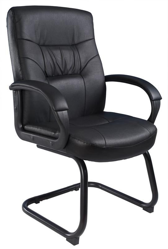 Boss Office Products B7519 Boss Executive Mid Back Leatherplus Guest Chair W/ Cantilever Sled Base from Boss Office Products