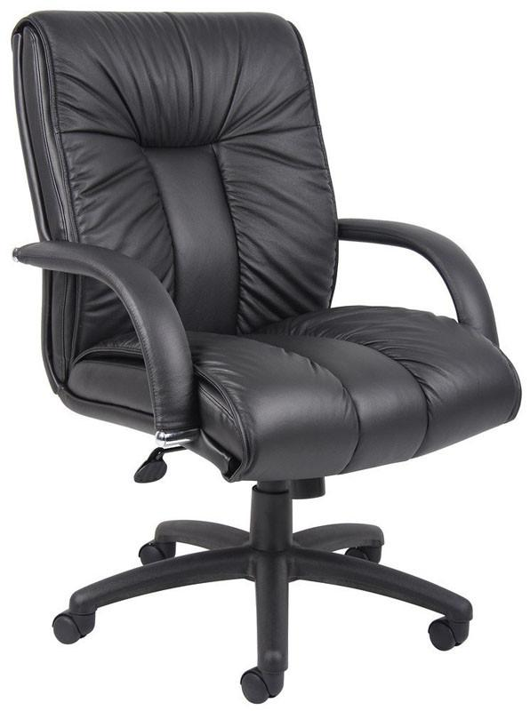 Boss Office Products B9307 Boss Italian Leather Mid Back Executive Chair W/ Knee Tilt from Boss Office Products