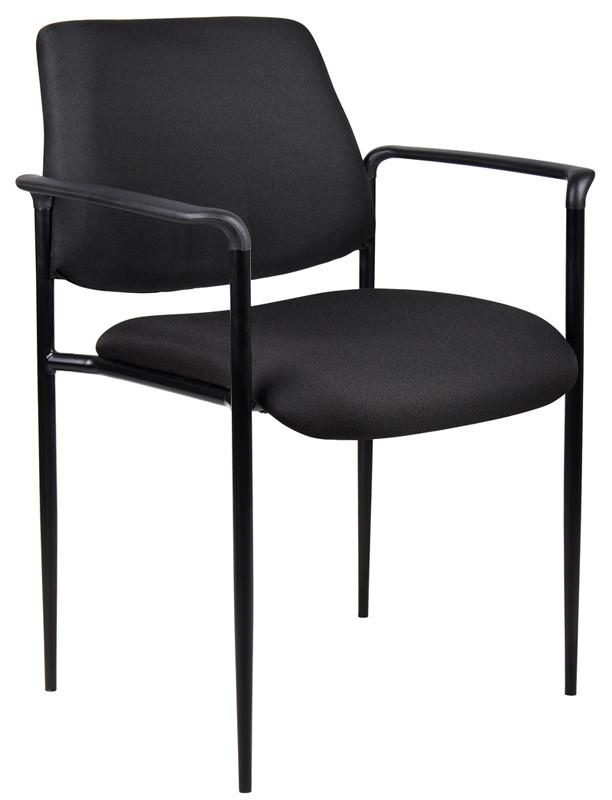 Boss Office Products B9503-BK Boss Square Back  Diamond Stacking Chair W/Arm In Black from Boss Office Products