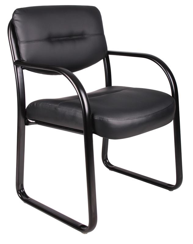 Boss Office Products B9529 Boss Leather Sled Base Side Chair W/ Arms from Boss Office Products