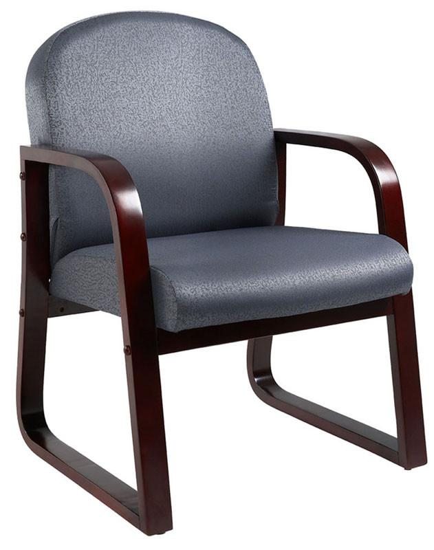 Boss Office Products B9570-GY Boss Mahogany Frame Side Chair In Grey Fabric from Boss Office Products