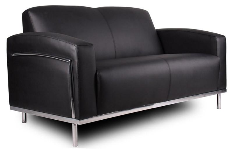 Boss Office Products BR99002-BK Boss Black Caressoftplus Loveseat W/Chrome Frame from Boss Office Products