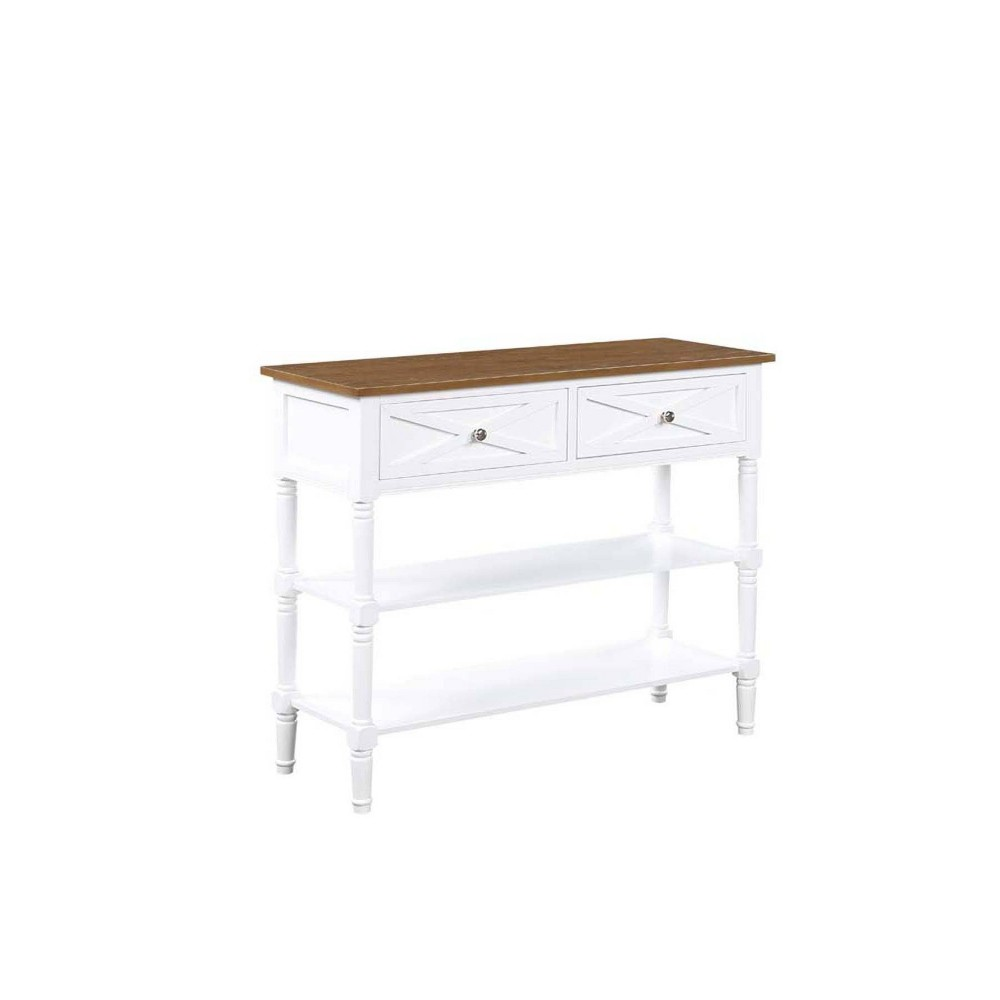 Country Oxford 2 Drawer Console Table Driftwood Top/White - Breighton Home from Breighton Home