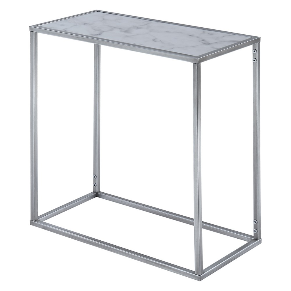 Gold Coast Faux Marble Chairside Table Faux Marble/Silver - Breighton Home from Breighton Home