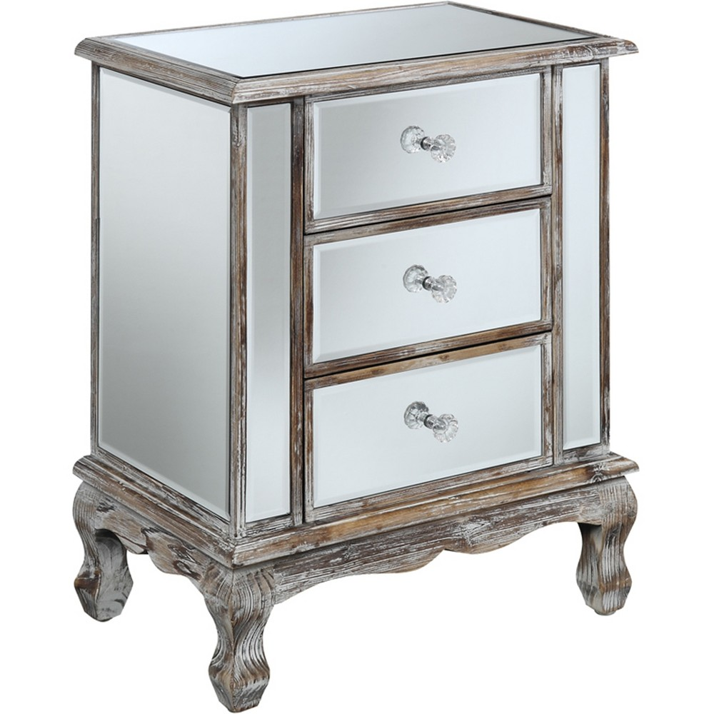 Gold Coast Vineyard 3 Drawer Mirrored End Table Weathered White/Mirror - Breighton Home from Breighton Home