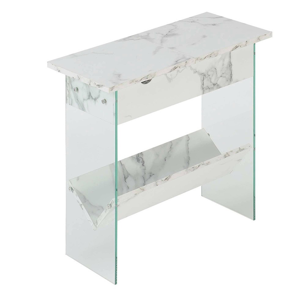 Soho Flip Top End Table with Charging Station White Faux Marble - Breighton Home from Breighton Home