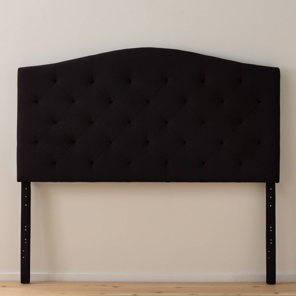 Full Liza Curved Edge Upholstered Headboard Black - Brookside Home from Brookside Home