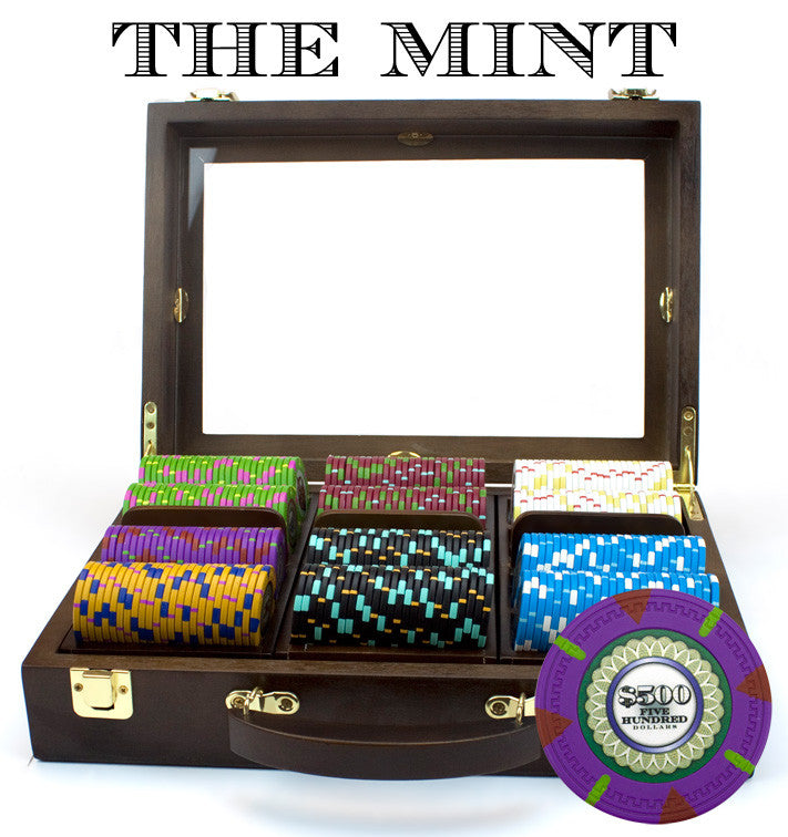 Brybelly CSMT-300W 300Ct Claysmith Gaming 'The Mint' Chip Set in Walnut Case from Brybelly