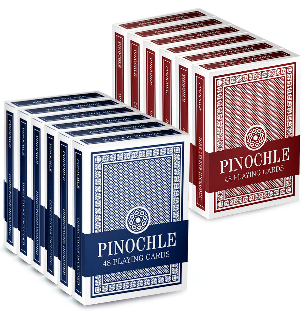 Brybelly GCAR-101*6.102*6 12 Pack of Pinochle Playing Cards (6 Red/6 Blue) from Brybelly