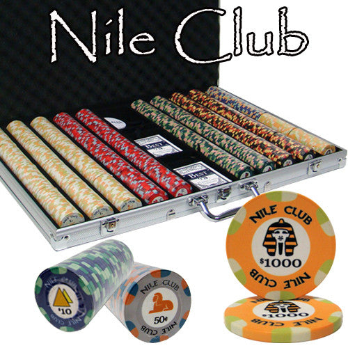 Brybelly PCS-1206 1000 Ct Standard Breakout Nile Club Chip Set - Aluminum Case from Brybelly