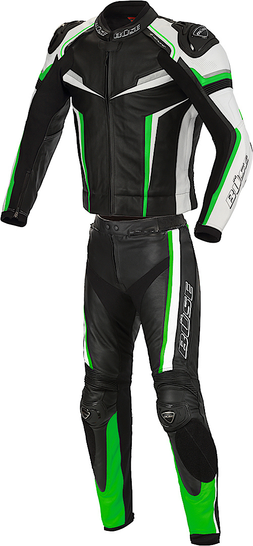 Büse Mille Two Piece Motorcycle Leather Suit, black-green, Size 48, black-green, Size 48 from Büse
