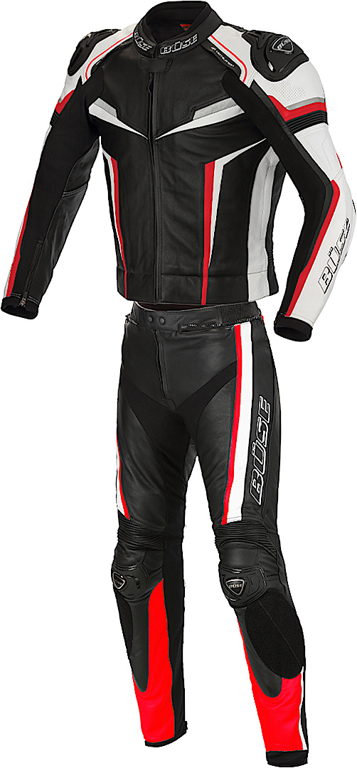 Büse Mille Two Piece Motorcycle Leather Suit, black-red, Size 52, black-red, Size 52 from Büse