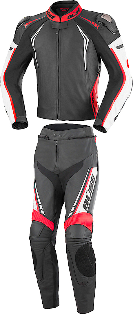 Büse Silverstone Pro Two Piece Motorcycle Leather Suit, black-white-red, Size 50, black-white-red, Size 50 from Büse