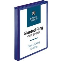"Business Source Slanted D-Ring View Binder, 1"" Capacity, Navy, from Business Source"