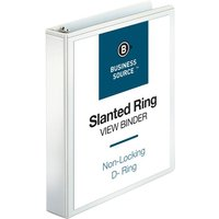 "Business Source Slanted D-Ring View Binder, 1.5"" Capacity, White from Business Source"