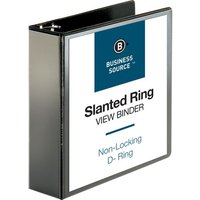 "Business Source Slanted D-Ring View Binder, 3"" Capacity, Black from Business Source"