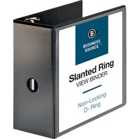 "Business Source Slanted D-Ring View Binder, 5"" Capacity, Black from Business Source"
