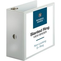 "Business Source Slanted D-Ring View Binder, 5"" Capacity, White from Business Source"
