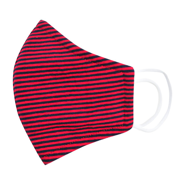Busy Bees Adult Cotton Face Mask, Red Navy Blue Mini Stripe (Prints) Maisonette from Busy Bees