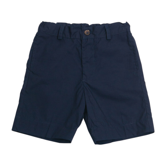 Busy Bees Alex Flat Front Shorts, (Navy Blue Cotton Poplin, Size 4Y) Maisonette from Busy Bees