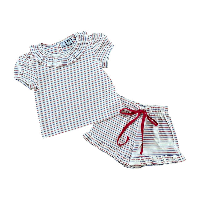 Busy Bees Amanda Short Sleeve Lounge Set, Stripes (Prints, Size 7Y) Maisonette from Busy Bees