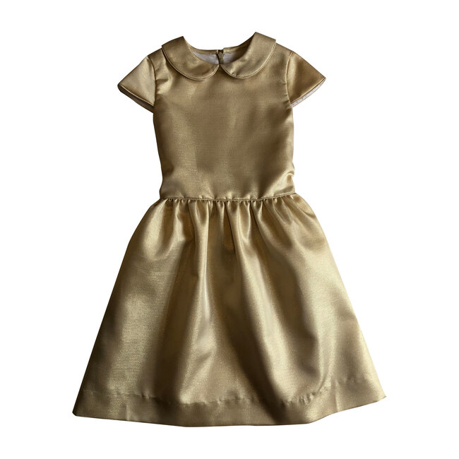 Busy Bees Anna Peter Pan Collar Dress, (Gold, Size 4Y) Maisonette from Busy Bees