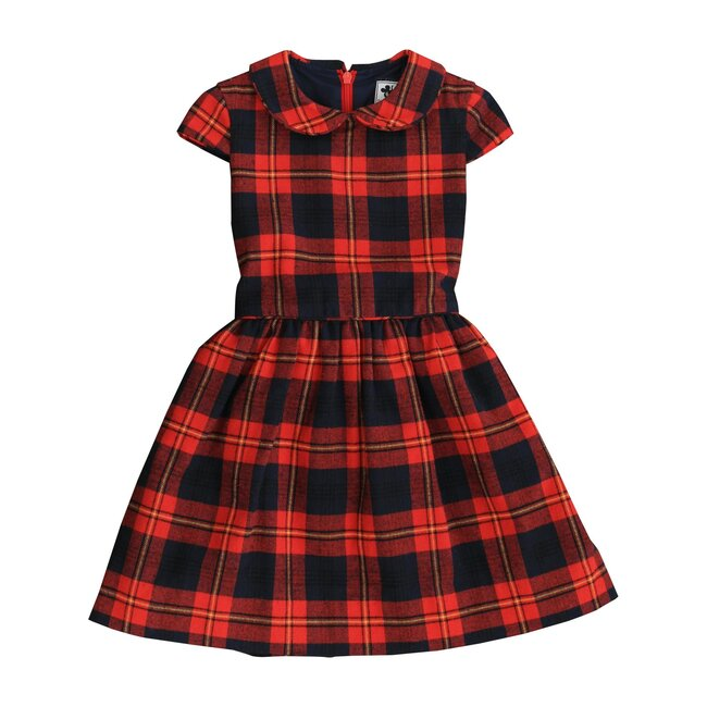 Busy Bees Anna Peter Pan Collar Dress, Red and Yellow Plaid (Red Plaid, Size 4Y) Maisonette from Busy Bees