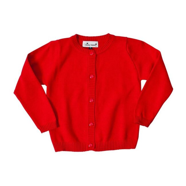 Busy Bees Classic Cardigan Sweater, (Red, Size 6Y) Maisonette from Busy Bees