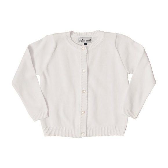 Busy Bees Classic Cardigan Sweater, (White, Size 7Y) Maisonette from Busy Bees